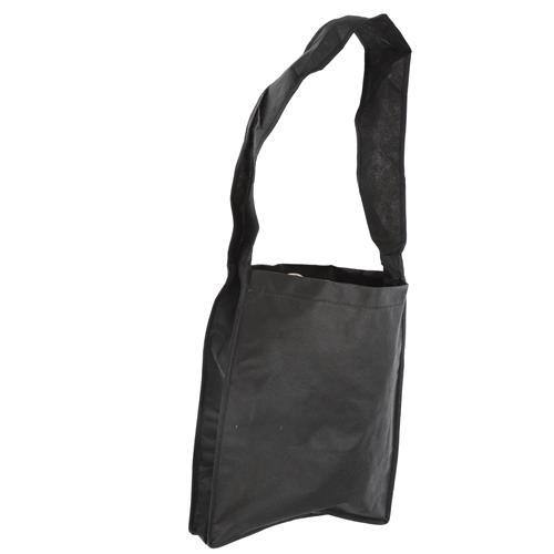 Wholesale BLACK NONWOVEN PP TOTE BAG 14x12x3'' 80 GSM 34'' SHOULDER STRAP