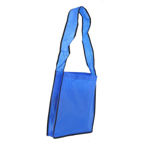 Wholesale BLUE NONWOVEN PP TOTE BAG 14x12x3'' 80 GSM 34'' SHOULDER STRAP