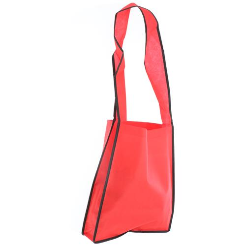 Wholesale RED NONWOVEN PP TOTE BAG 14x12x3'' 80 GSM 34'' SHOULDER STRAP
