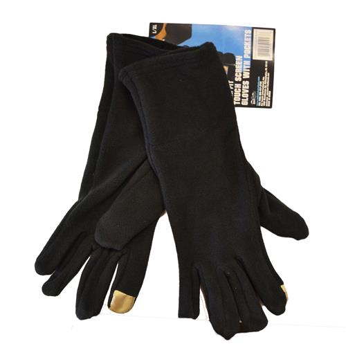 Wholesale Slim Fit Touch Screen Gloves w/Pockets Black Size L/XL