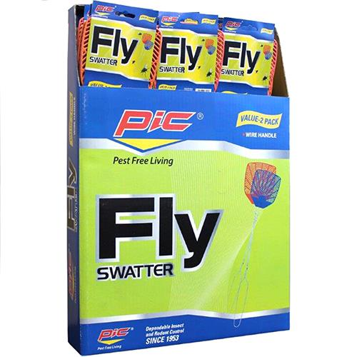 Wholesale Pic Wire Handle Fly Swatter Value Pack Display 2 ct