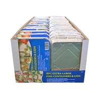 Wholesale 4 ct Extra Large Foil Containers & Lids.