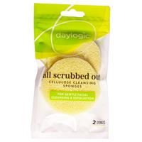 Wholesale 2PK CELLULOSE FACIAL CLEANSING SPONGE ALL SCRUBBED OUT