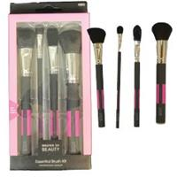 Wholesale 4PK MASTER OF BEAUTY ESSENTIAL BRUSH KIT PINK & GREY