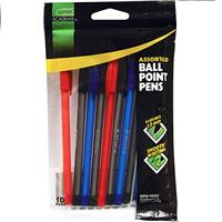 Wholesale 10CT BALL POINT STICK PENS BLACK, BLUE & RED