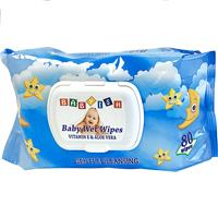 Wholesale Babyish Premium Blue package Baby Wipes  with Vit E and Aloe