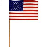 """Wholesale US Flag 4"""" X 6"""" Cotton Stick Flag, Made in USA"""