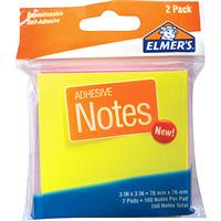 "Wholesale Elmers Neon Notes 3 x 3"" 2 pads of 100."