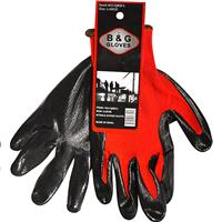 Wholesale RED NITRILE DIPPED GLOVE LARGE