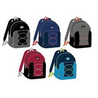 "Wholesale Backpack 17"" x 12"" x 5.5"" 2 Tone 4 Assorted Colors with Cord"