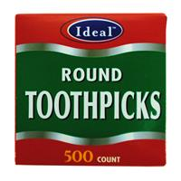 Wholesale Ideal Wooden Toothpicks - Round - PDQ -500 ct