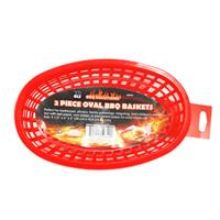 Wholesale 2pc OVAL PLASTIC BBQ BASKETS