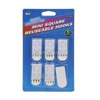 Wholesale Mini Square Reusable Hooks with additional adhesive strip.