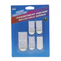 Wholesale Square hooks - 1 medium hook plus adhesive back & 3 mini hooks plus 4 backs.