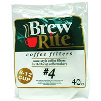 Wholesale Brew Rite (#4) Cone Coffee Filters 8-12 Cup - 12/ 40 ct. Pkg