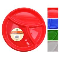 "Wholesale Plastic 3 Section Divided Plate 9.75"" Assorted Colors"