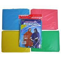"Wholesale Adult Emergency Rain Poncho 52"" x 80"" Assorted Colors"