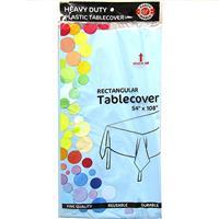 "Wholesale Light Blue Plastic Tablecover 54"" x 108"""