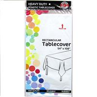 """Wholesale White Plastic Tablecover 54"""" x 108"""""""