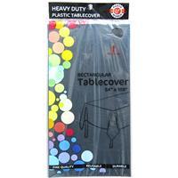 "Wholesale Black Plastic Tablecover 54"" x 108"""